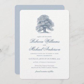 vintage oak tree wedding invitation