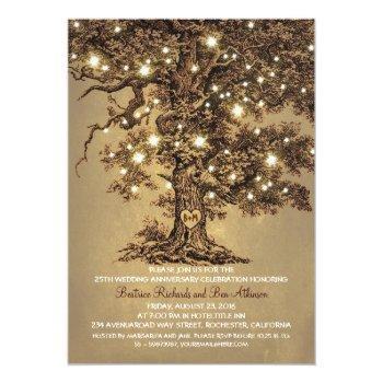 vintage old oak tree rustic wedding anniversary invitation