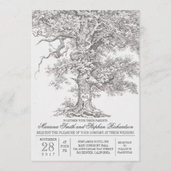 vintage old oak tree rustic wedding invitations