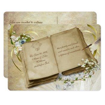 vintage open book vow renewal invite