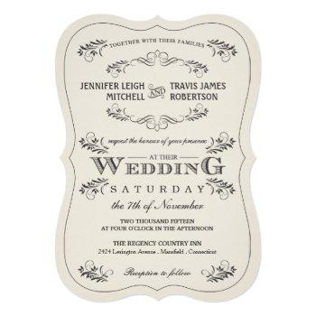 vintage ornate flourish white wedding invitations