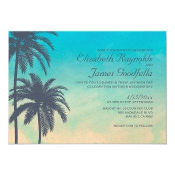 vintage palm tree wedding invitations