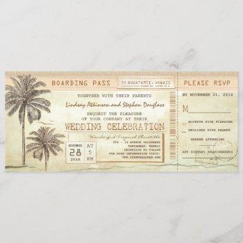 vintage palms seaside boarding pass wedding ticket invitation