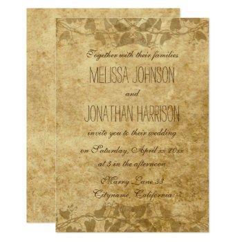 vintage paper vines typography wedding invitation