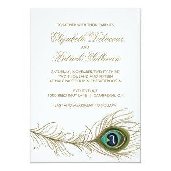 vintage peacock feather formal wedding invitation