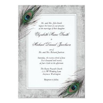 vintage peacock feathers gray wedding invitations