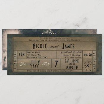 vintage photo masquerade & pearls ticket wedding invitation