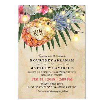 vintage pineapple beach tropical wedding invitation