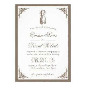 vintage pineapple elegant wedding invitation
