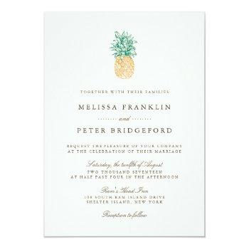 Small Vintage Pineapple Wedding Invitation Front View