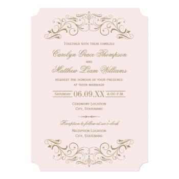 vintage pink and antique gold flourish wedding invitation
