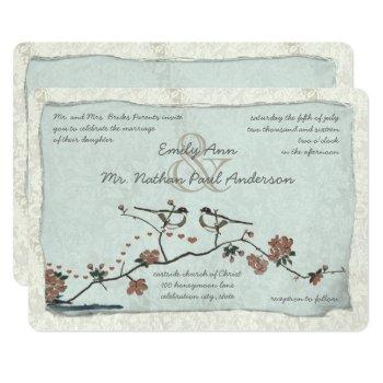 vintage pink love bird cherry blossom wedding invitation