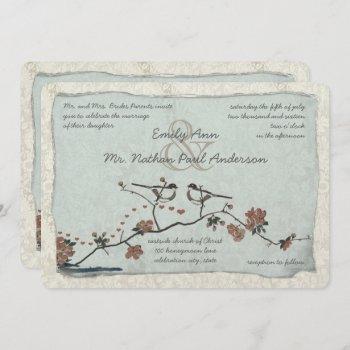vintage pink love bird cherry blossom wedding invitation