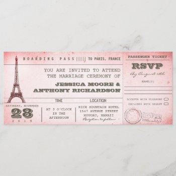 vintage pink wedding boarding pass to paris invitation