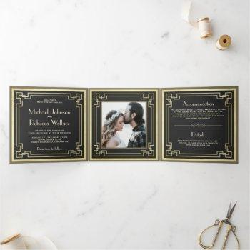 vintage retro art deco photo wedding tri-fold invitation