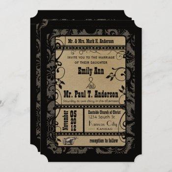 vintage retro broadway rustic movie ticket wedding invitation