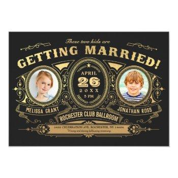 vintage retro kids photo wedding invitations foil