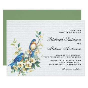 vintage romantic floral birds wedding invitation