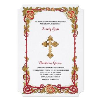 vintage rose cross catholic wedding invitation
