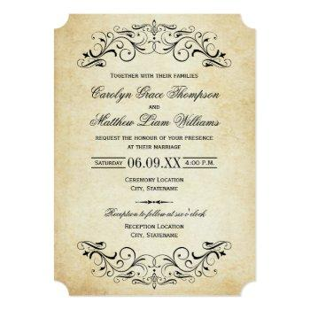 vintage rustic black flourish parchment wedding invitation