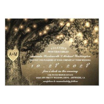 Small Vintage Rustic Carved Oak Tree Wedding Invitations Front View