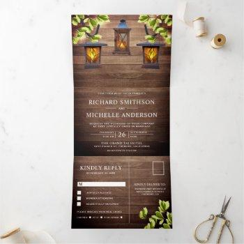 vintage rustic country barn wood lanterns wedding tri-fold invitation