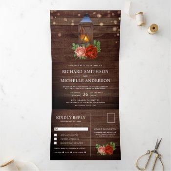 vintage rustic country floral wood lantern wedding tri-fold invitation