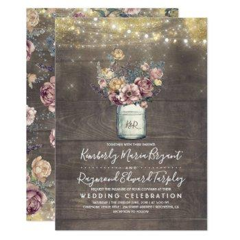 vintage rustic mason jar mauve and gold wedding invitation