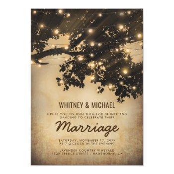 vintage rustic tree lights wedding reception invitation