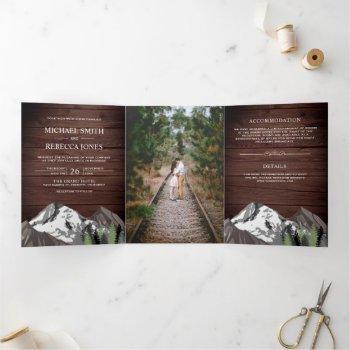 vintage rustic wood mountain forest photo wedding tri-fold invitation