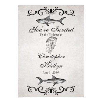 vintage shark and jellyfish beach wedding invitation