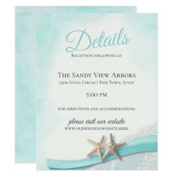 vintage starfish and lace  details and information invitation