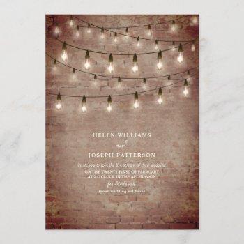 vintage string light industrial brick virtual invitation