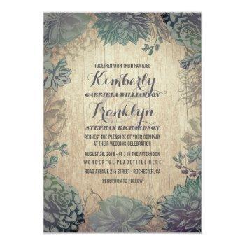 vintage succulents rustic wedding invitation