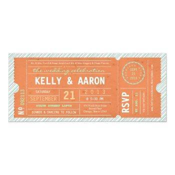 vintage ticket diagonal stripe wedding invitation