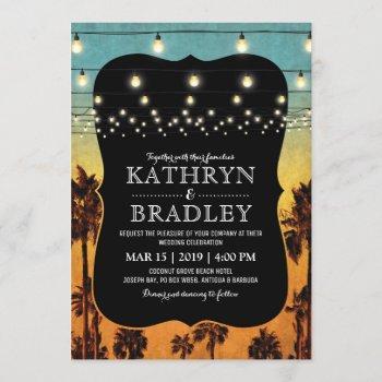vintage tropical beach palm hawaiian wedding invitation