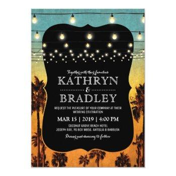 vintage tropical beach palm hawaiian wedding invitation