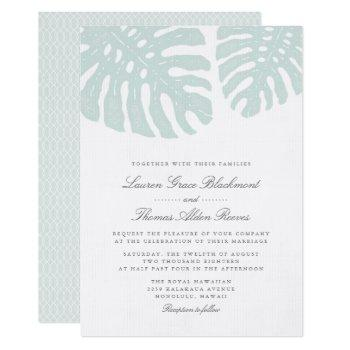 vintage tropics wedding invitation