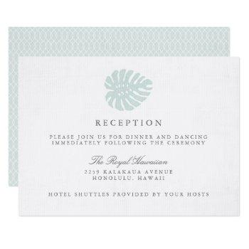 vintage tropics wedding reception card