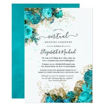 vintage turquoise and gold online virtual wedding invitation