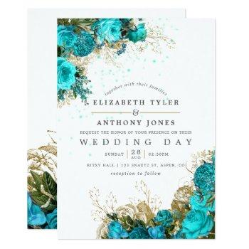 vintage turquoise and gold shabby floral wedding invitation