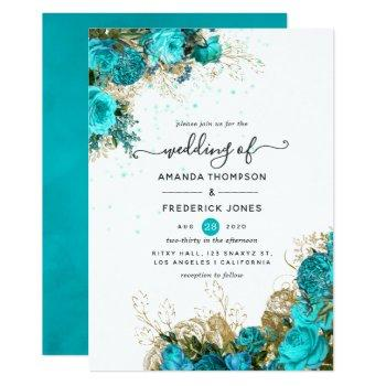 vintage turquoise and gold shabby wedding invitation