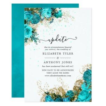 vintage turquoise and gold shabby wedding update invitation
