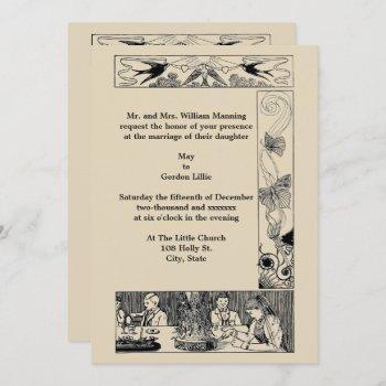 vintage victorian art nouveau wedding invitation