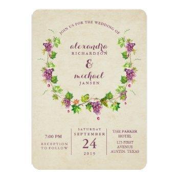 vintage vineyard | wine themed wedding invitation