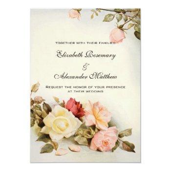 vintage wedding antique garden rose flowers floral invitation