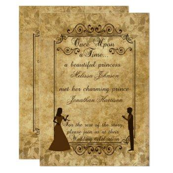vintage wedding bride groom once upon time invite