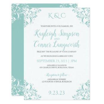vintage wedding invitations | light turquoise-teal
