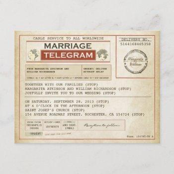 vintage wedding telegrams invitation