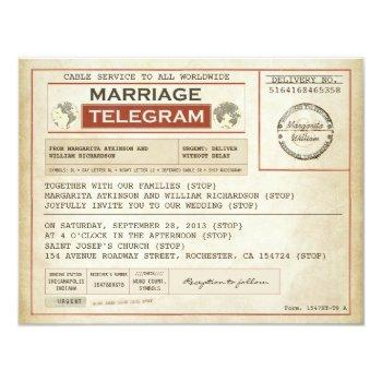vintage wedding telegrams invitation